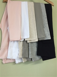 (Pre-Order) Luxury Cotton 3/4 Length Leggings (Pink/White/Beige/CharcoalKhaki/Gray/Black) (will ship within 1~2 weeks)