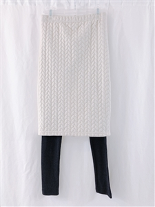 (Event; Final Sale) Ivory Padded Long Thick Kimo Skirt Leggings 122