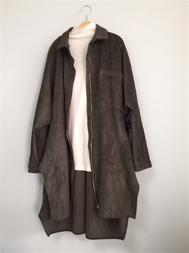 Khaki Suede Zip Up Trench Coat