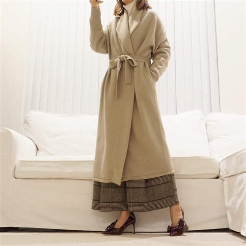 (Best; 2nd Reorder) Beige Cashmere + Merino Wool Knit Coat