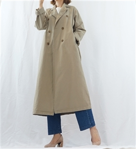 (Best; 3rd Reorder) Khaki Clean Cotton Trench Jacket
