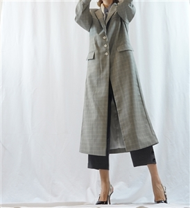 (Best; 3rd Reorder) Gray Check Stylish Long Jacket Coat