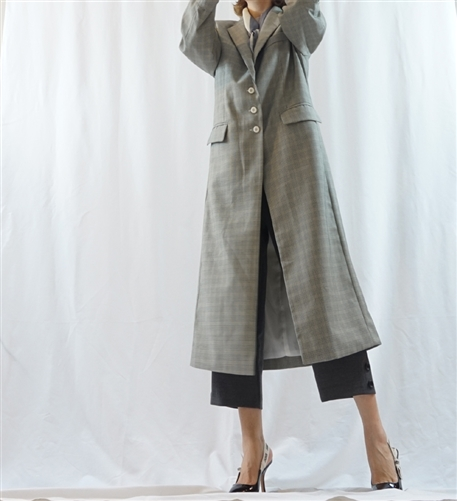 (Best; Back-Order; 2nd Reorder) Gray Check Stylish Long Jacket Coat (will ship within 1~2 weeks)