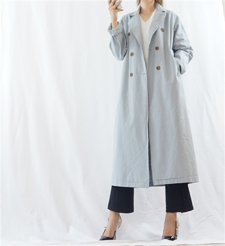 (Best; Back-Order; 3rd Reorder) SkyBlue Clean Cotton Trench Jacket (will ship within 1~2 weeks)