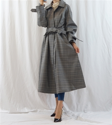 (Best; Back-Order; 2nd Reorder) Check Luxury Trench Coat (will ship within 1~2 weeks)
