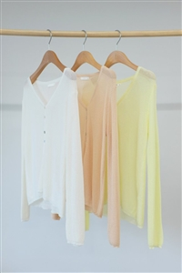 Summer Pastel Cardigan (Ivory/Salmon/Yellow) (will ship within 1~2 weeks)