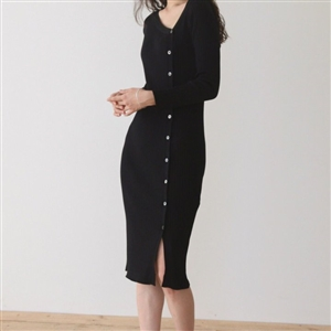 Black Unbalanced Button Knit Cardigan Dress (will ship within 1~2 weeks)