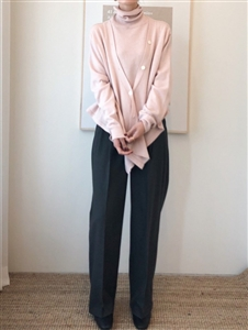 Cashmere Turtleneck Cardigan (Oatmeal/Pink/Gray/Ivory/Brown) (will ship within 1~2 weeks)