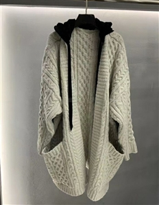 Hoodie Cardigan Coat (Ivory/Brown/Gray) (S/M/L) (will ship within 1~2 weeks)