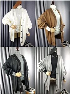 Studded Cardigan (Cream/Camel/Black/Gray) (will ship within 1~2 weeks)