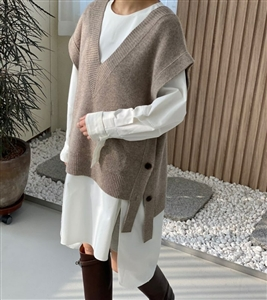 Side Button Knit Vest (Beige/Brown/Charcoal) (will ship within 1~2 weeks)