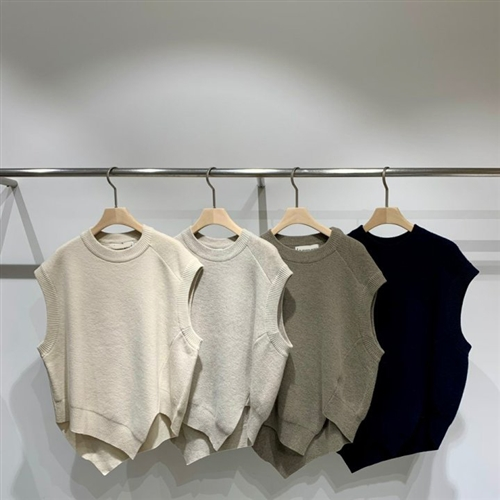 Unbalanced Knit Vest (Ivory/Beige/Brown/Navy) (will ship within 1~2 weeks)