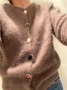 Jewel Cardigan (Ivory/Cocoa/Yellow/Pink/Burgundy) (will ship within 1~2 weeks)