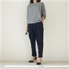 Navy Front Pintuck Formal Pants