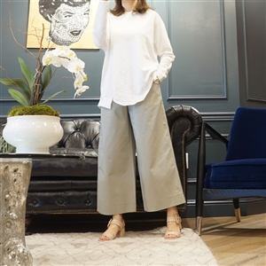 (Best; 3rd Reorder) Light Khaki Coating Cotton Wide Pants