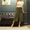 (Best; 3rd Reorder) Luxury Green Linen Vintage Wide Pants (M)
