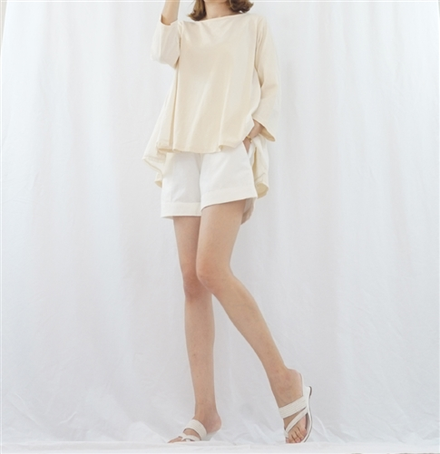 (BeachDaySpecial; Best; 2nd Reorder) Ivory Washing Cotton Short Pants