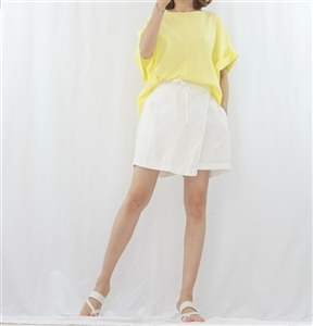 (Summer Special; Best; 4th Reorder) White Wrap Skirt Pants (F)