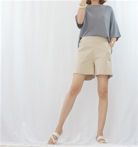(Summer Special; Best; 4th Reorder) Beige Side Button Short Pant (F)