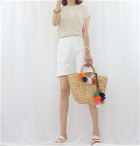 (Summer Special; Best; 4th Reorder) White Button Short Pant (F)