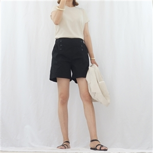 (Summer Special; Best; Back-Order; 4th Reorder) Black Button Short Pant (F)