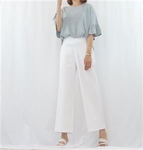 (Pre-Order) White Basic Stylsih Wide Pants (F)