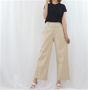 (Best; 3rd Reorder) Beige Basic Stylsih Wide Pants (F)