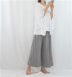 (Best; 2nd Reorder) Gray Easy Wide Pants