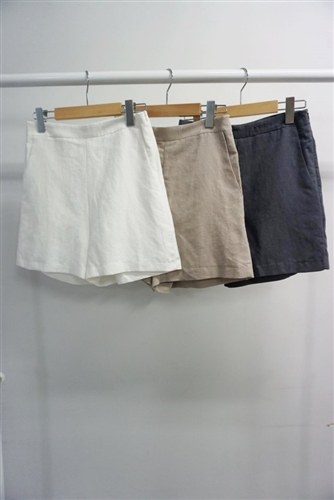 Theory Style Linen Short Pants (White/Beige/Charcoal) (S/M) (will ship within 1~2 weeks)