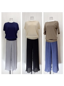 Cool Pleated Pants (Black/Blue/Gray) (will ship within 1~2 weeks)