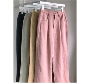 Holiday Linen Pants (Ivory/Khaki/Pink/Beige) (will ship within 1~2 weeks)