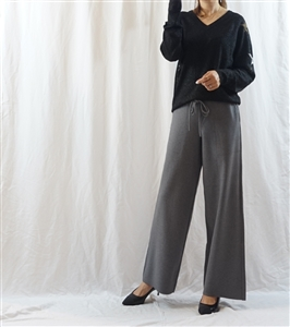 (Big Sale) Gray Cashmere Knit Pants (허리끈이 길어서 추가 세일합니다.) (will ship within 1~2 weeks)