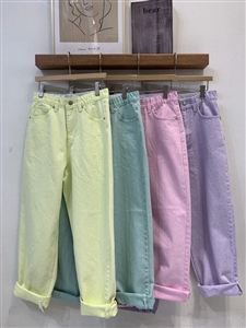 Spring Pastel Pants (S/M/L) (Yellow/Green/Pink/Violet) (will ship within 1~2 weeks)