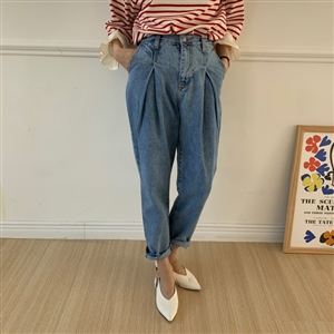 Pintuck Baggy Jeans (S/M/L) (will ship within 1~2 weeks)