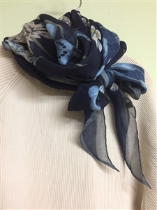 (Best; 4th Reorder) Navy Luxury Nature Scarf