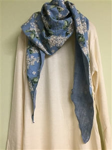 (Pre-Order) Blue Flower Cotton Scarf (will ship within 1~2 weeks)