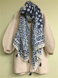 (Pre-Order) Blue Dot Tassel Scarf (will ship within 1~2 weeks)