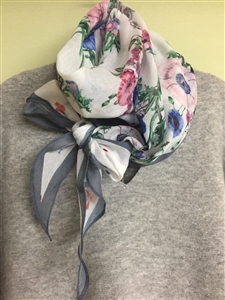 (Pre-Order) Gray Line Flower Scarf (will ship within 1~2 weeks)