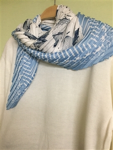 (Pre-Order) SkyBlue Flower Pleated Scarf (will ship within 1~2 weeks)