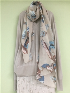 (Pre-Order) Beige Feather Scarf (will ship within 1~2 weeks)