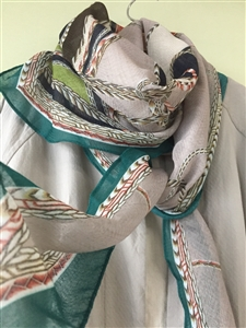 (Pre-Order) Green and Gray Luxe Scarf (will ship within 1~2 weeks)