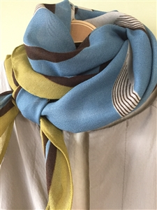 (Pre-Order) Mustard and Blue Scarf (will ship within 1~2 weeks)