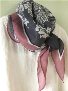 (Pre-Order) Pink Line Flower Scarf (will ship within 1~2 weeks)