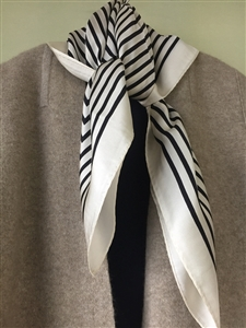(Pre-Order) Ivory Line Silk 100 Scarf (will ship within 1~2 weeks)
