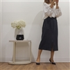 (Best; 2nd Reorder) Charcoal Front Vent Cotton 100 Skirt