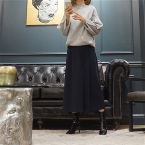 (Best; 3rd Reorder) Navy Side Pleated Skirt
