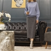 (Best; 3rd Reorder) Gray Wool 100% Knit Skirt