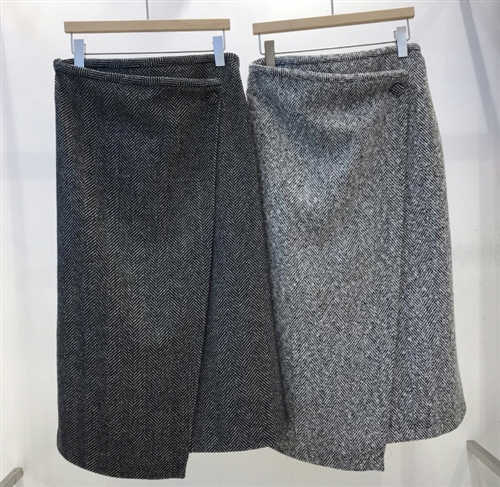 (Pre-Order) Wool Wrap Skirt (Charcoal/Gray) (will ship within 1~2 weeks)