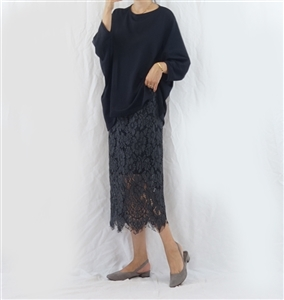 (Best; 2nd Reorder) Charcoal Lace Skirt