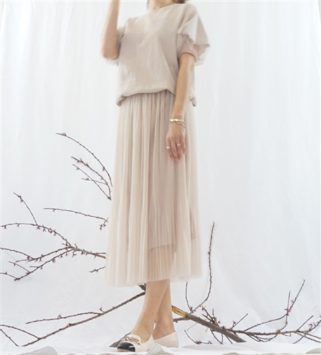 (Best; 2nd Reorder) Beige Unique Wrinkle Pearl Skirt
